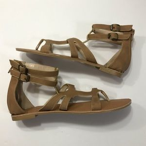 Qupid Tan Strappy Flat Sandals